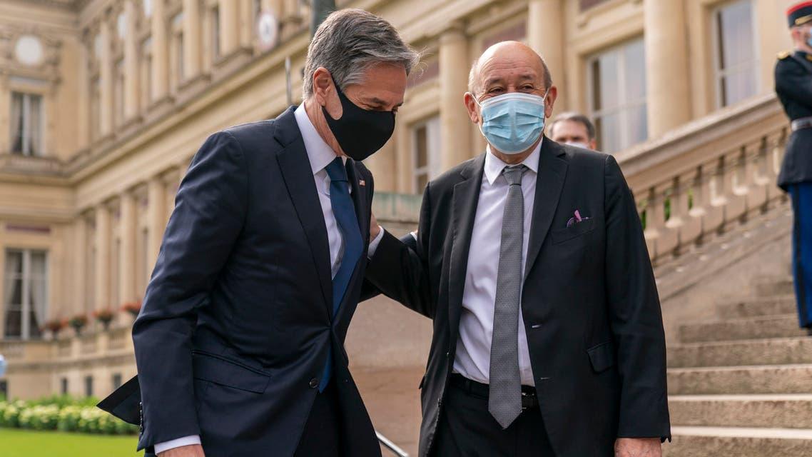 وزير الخارجية الأميركي أنتوني بلينكن، ونظيره الفرنسي جان إيف لودريان (25 يونيو- أسوشييتد برس)