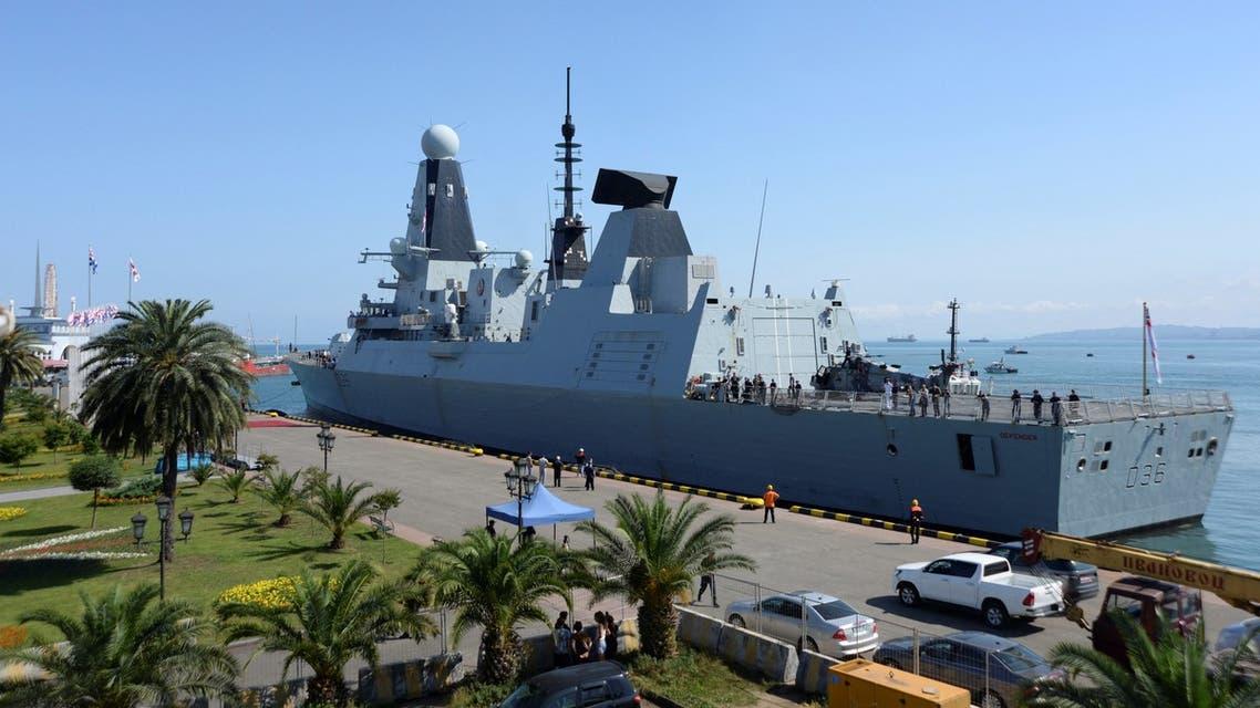 The British Royal Navy destroyer HMS Defender arrives in the Black Sea port of Batumi on June 26, 2021. (AFP)