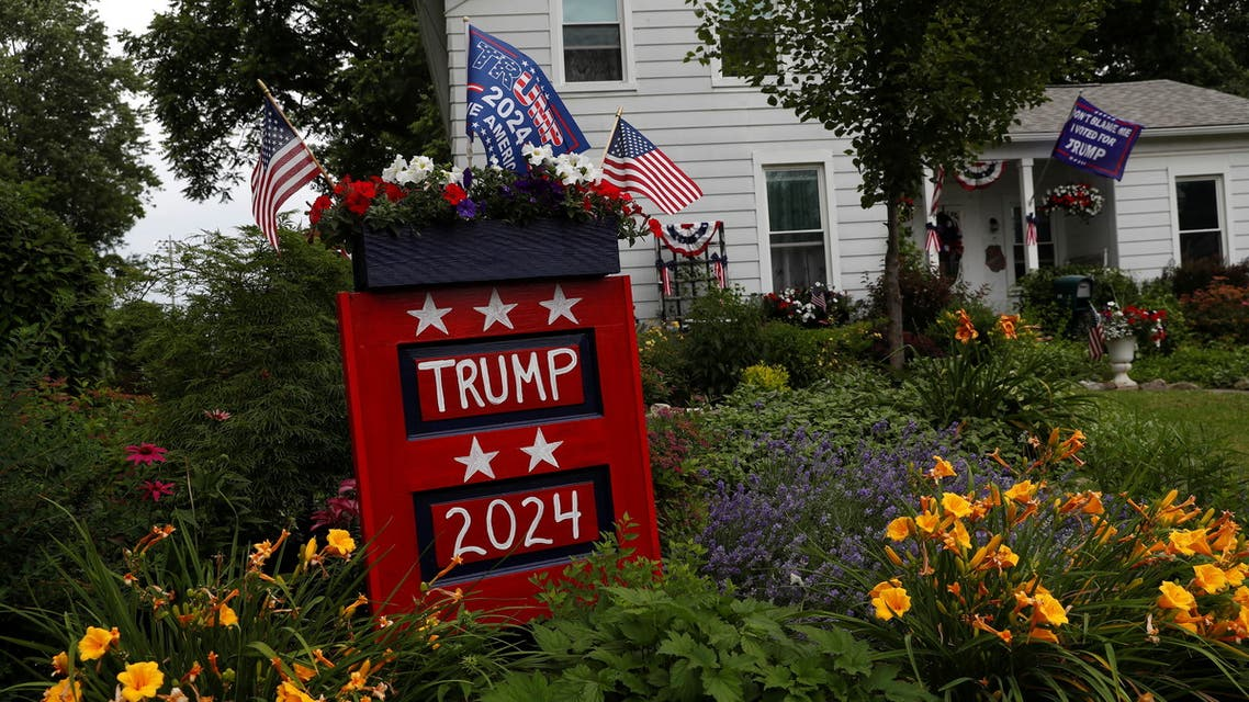 Signs are seen for former U.S. President Donald Trump, before his first post-presidency campaign rally at the Lorain County Fairgrounds, outside a home near Wellington, Ohio, U.S., June 25, 2021. (Reuters)
