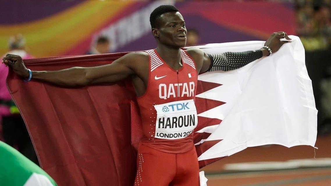 Qatar's Abdalelah Haroun celebrates after winning the bronze medal in the men's 400 meters final during the World Athletics Championships in London, Aug. 8, 2017. (AP/Matt Dunham)