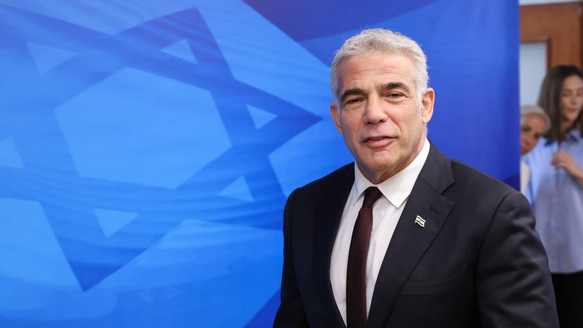 Israeli alternate Prime Minister and Foreign Minister Yair Lapid arrives to attend the first weekly cabinet meeting of the new government in Jerusalem June 20, 2021. (Reuters)