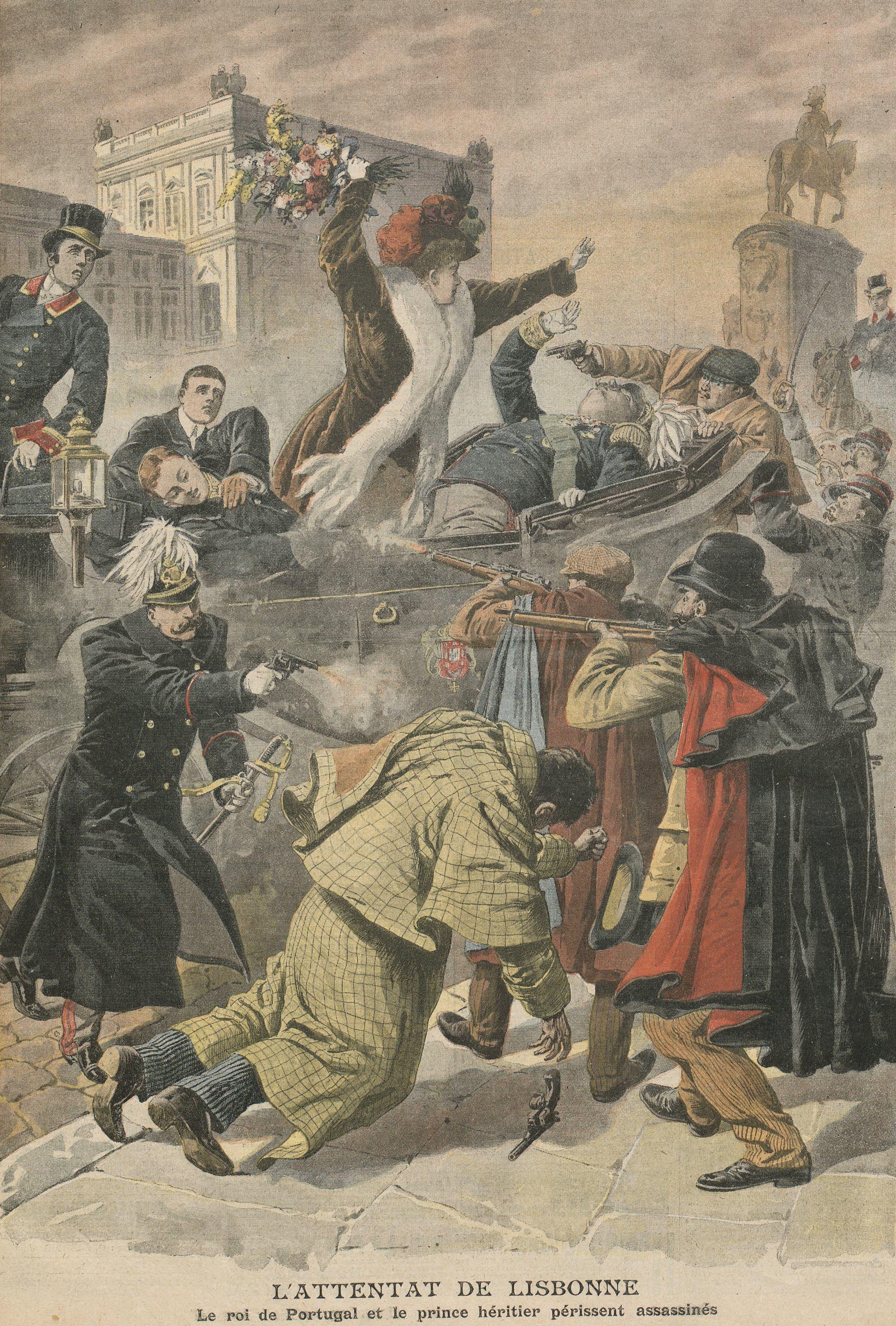 لوحة لحادثة اغتيال الملك عام 1908