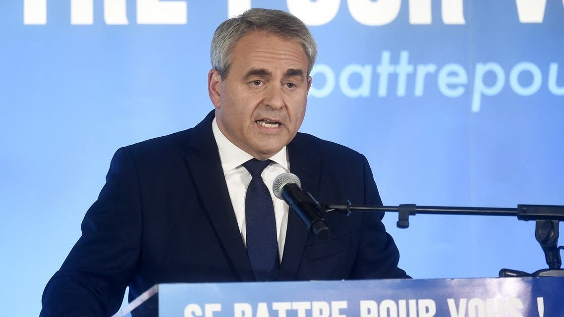 Xavier Bertrand, former minister and candidate to his succession as president of the northern France Hauts-de-France region, gives a speech after the first results in the second round of the French regional elections in Saint-Quentin, on June 27, 2021. (Francois Lo Presti/AFP)