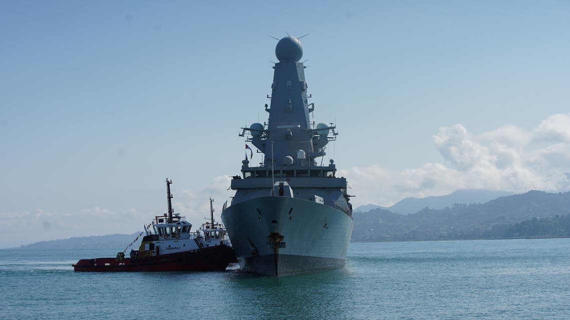 The British Royal Navy destroyer HMS Defender arrives in the Black Sea port of Batumi, Georgia, June 26, 2021. (Reuters)