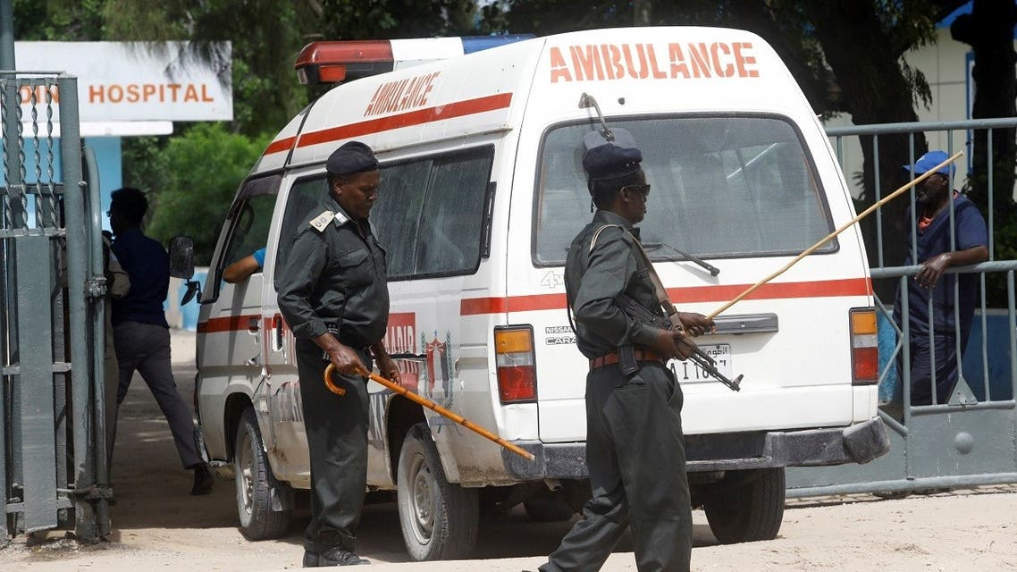 An ambulance carrying wounded from a suicide bombing attack at a military base arrives at the Madina Hospital in Mogadishu, Somalia June 15, 2021. (Reuters/Feisal Omar)