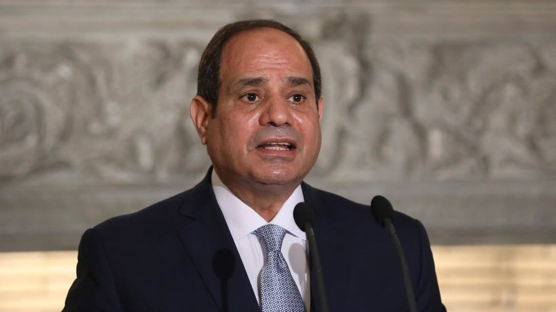Egyptian President Abdel Fattah al-Sisi makes statements during a joint news conference with the Greek Prime Minister Kyriakos Mitsotakis at Maximos Mansion in Athens, Wednesday, Nov. 11, 2020. Egypt's president is meeting with Greek officials in Athens on his first visit to the southern European nation since the two countries signed a deal demarcating maritime boundaries between them in the eastern Mediterranean. (Costas Baltas/Pool via AP)