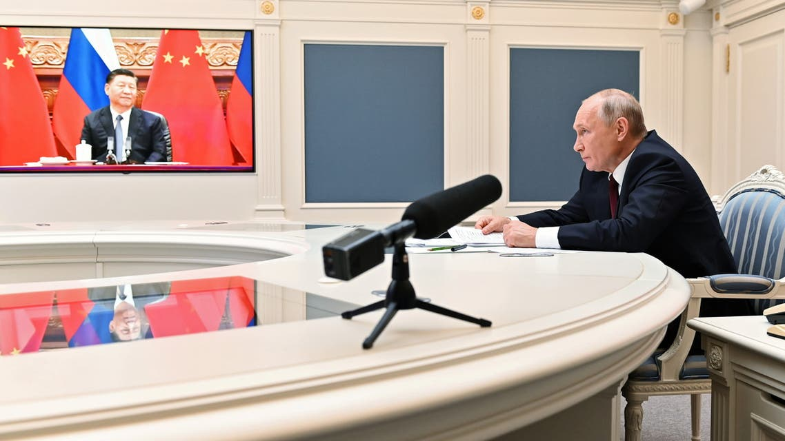 Russian President Vladimir Putin takes part in a video conference call with Chinese President Xi Jinping at the Kremlin in Moscow, Russia June 28, 2021. (Reuters)