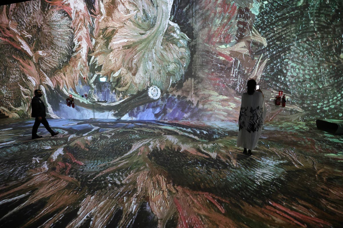 Shoppers and art lovers will soon be able to step into masterpieces projected onto walls and floors in an immersive experience, through an exhibition in Dubai Mall set up in the mould of the Atelier des Lumieres in Paris, which will open on July 1 to run until mid 2022. (AFP)