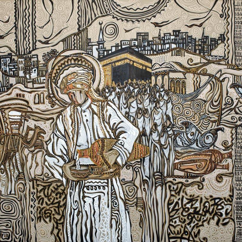 """فنان سعودي يرسم """"رحلة الحج"""" على لوحة جداريةوسط مطار جدة"""