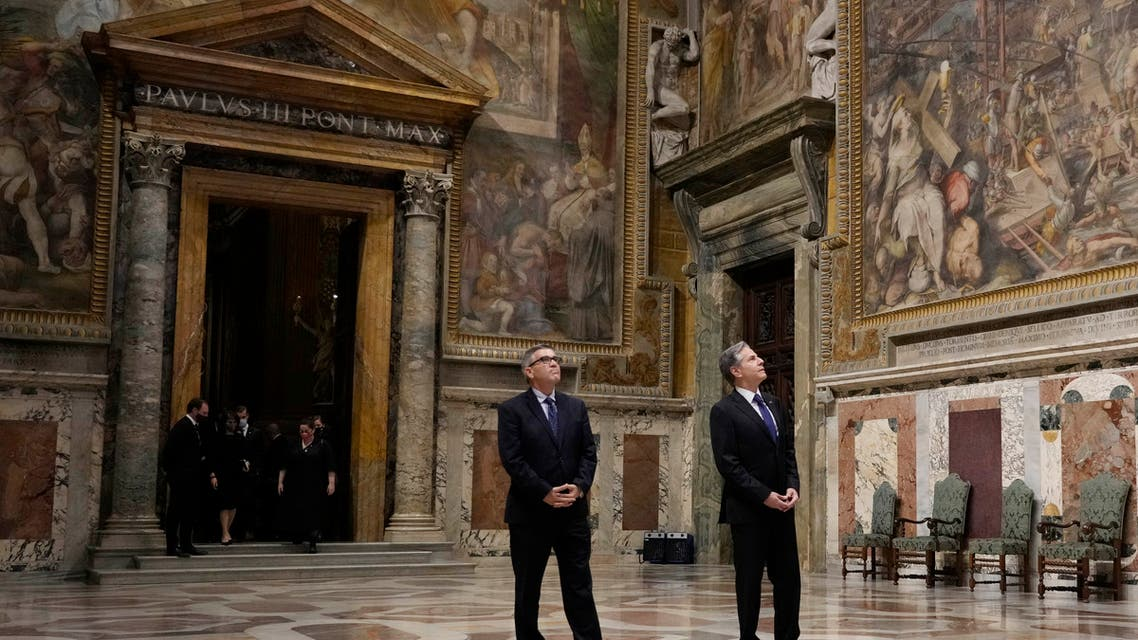 US Secretary of State Antony Blinken, right, visits the Regia hall ahead of his meeting with Pope Francis at the Vatican, Monday, June 28, 2021. (AP)