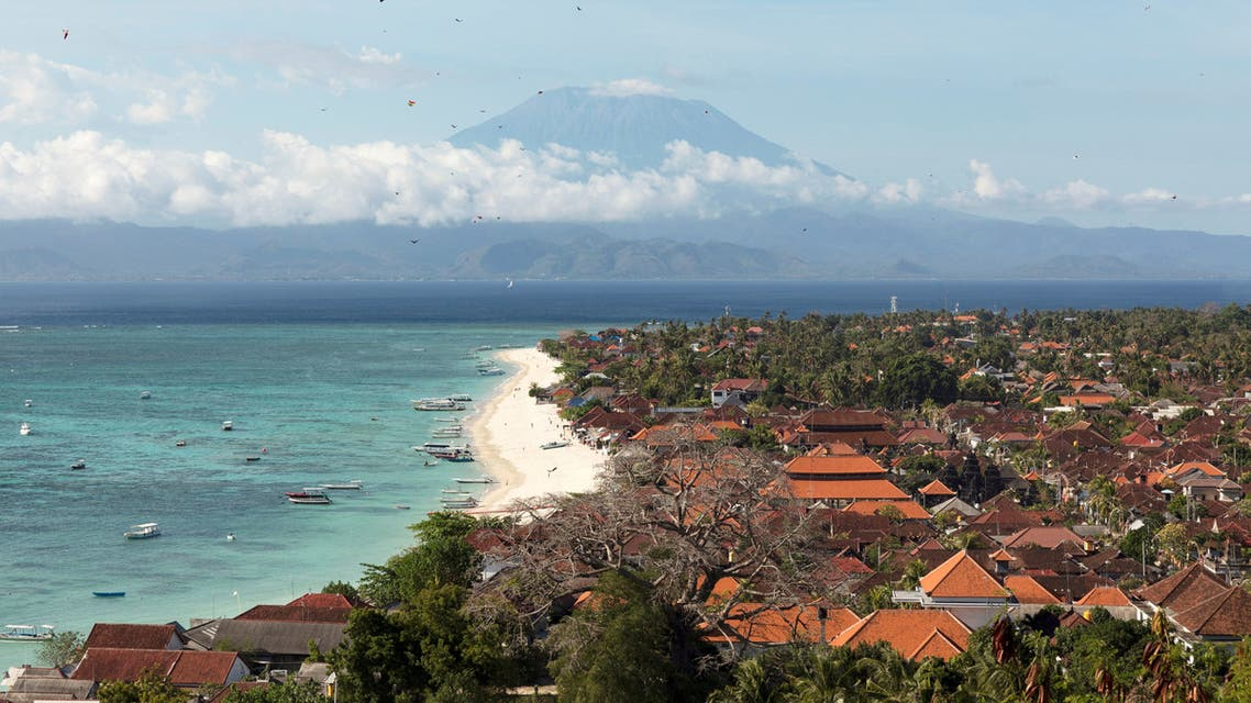 General view of Nusa Lembongan Island with Mount Agung volcano in the background, amid the outbreak of the coronavirus disease (COVID-19), Bali, Indonesia, September 25, 2020. (Reuters)