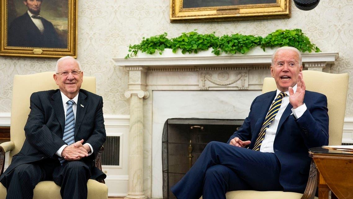 US President Joe Biden meets with Israeli President Reuven Rivlin in the Oval Office June 28, 2021 in Washington. (AFP)