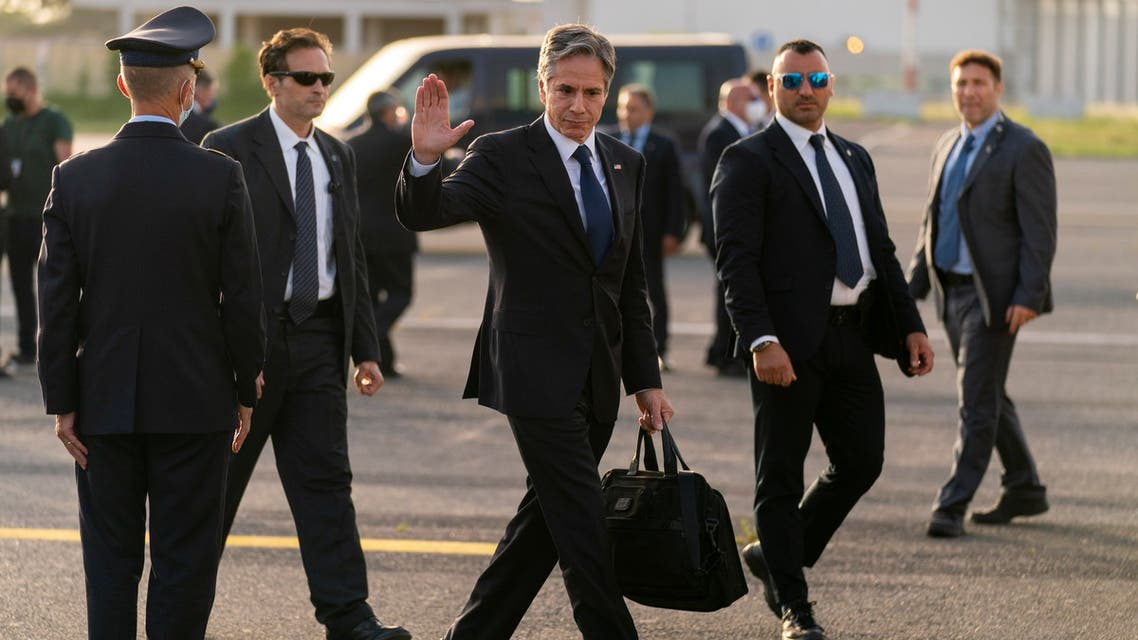 US Secretary of State Antony Blinken waves to members of the media as he boards his plane at Ciampino Airport in Rome, Italy June 28, 2021. (Reuters)