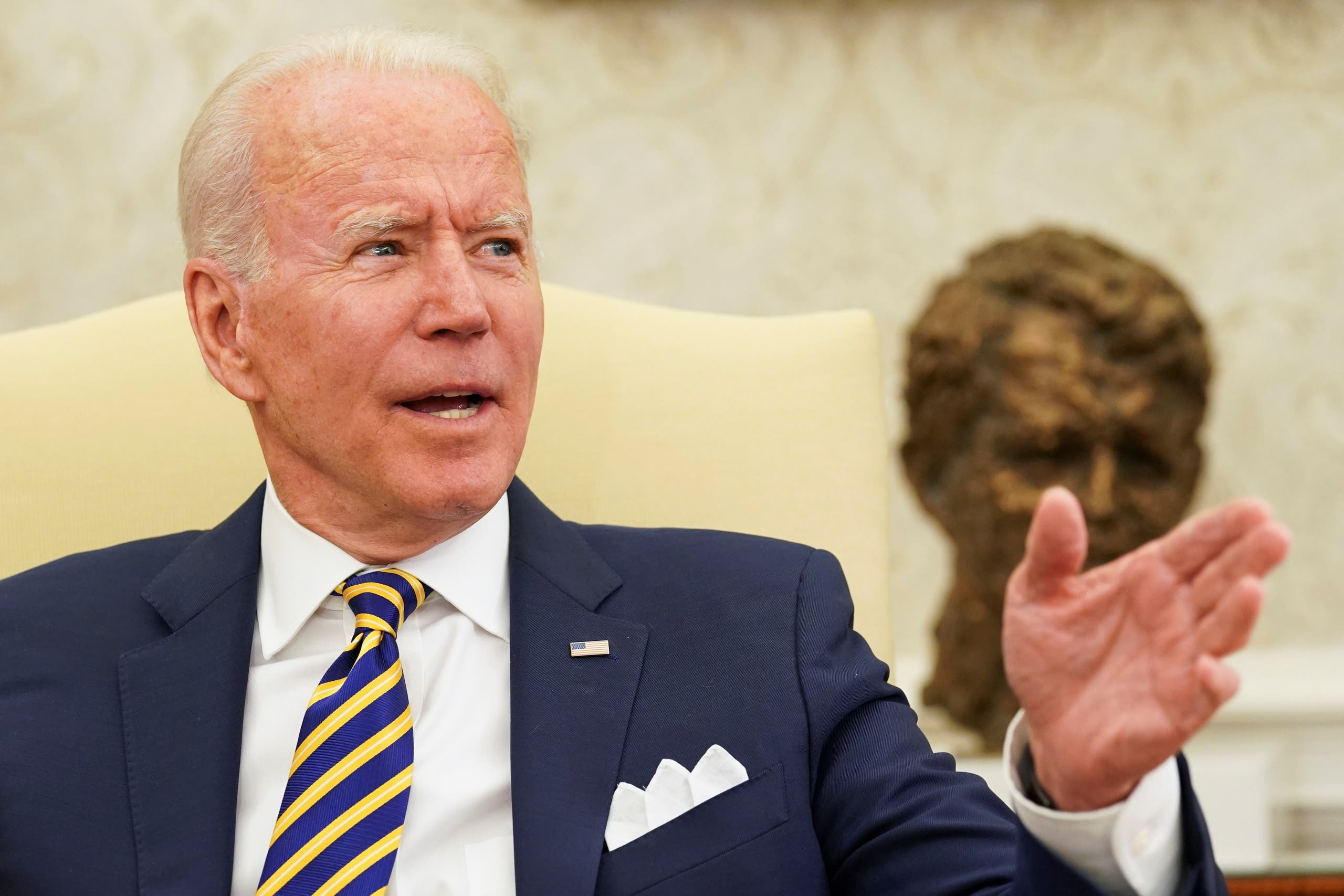 US President Joe Biden gestures during a meeting with Israel's President Reuven Rivlin at the White House in Washington, US June 28, 2021. (Reuters)