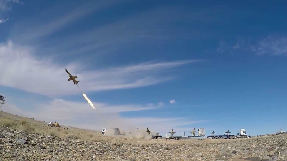 A drone is launched during a large-scale drone combat exercise of Army of the Islamic Republic of Iran, in Semnan, Iran January 6, 2021. Iranian Army/WANA (West Asia News Agency)/Handout via REUTERS ATTENTION EDITORS - THIS IMAGE HAS BEEN SUPPLIED BY A THIRD PARTY