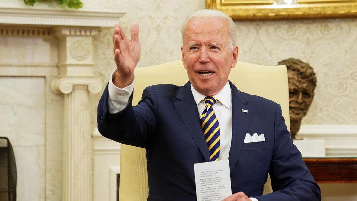 US President Joe Biden during a meeting with Israel's President Reuven Rivlin at the White House, June 28, 2021. (Reuters)