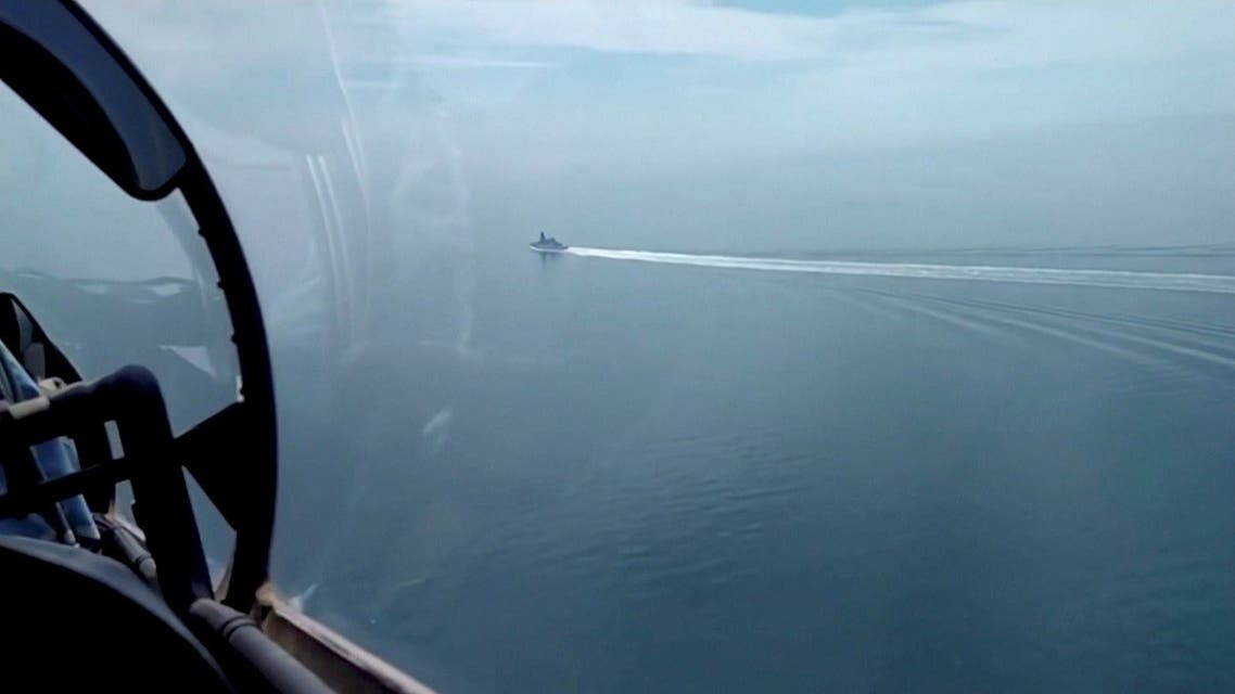 A file photo of a still image taken from a video released by Russia's Defense Ministry allegedly shows British Royal Navy's Type 45 destroyer HMS Defender filmed from a Russian military aircraft in the Black Sea, June 23, 2021. (Handout via Reuters)