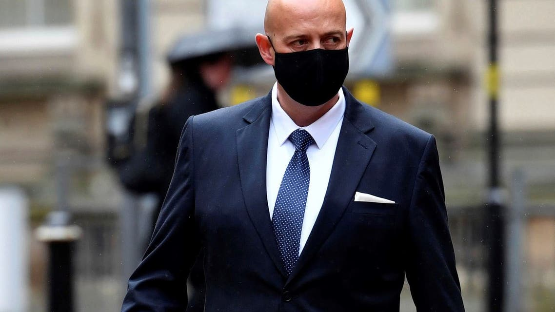 West Mercia Police Constable Benjamin Monkarrives at Birmingham Crown Court, Birmingham, England, Tuesday May 4, 2021, to stand trial. (AP)