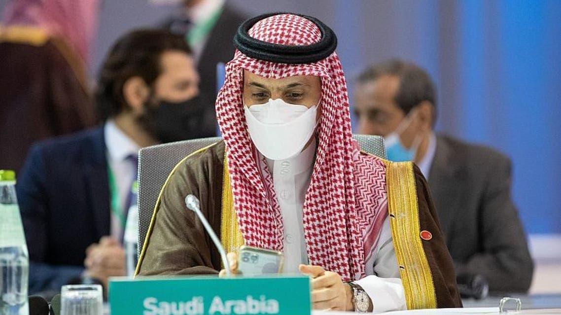 Saudi Arabia's Foreign Minister Prince Faisal bin Farhan speaks in Rome. (SPA)