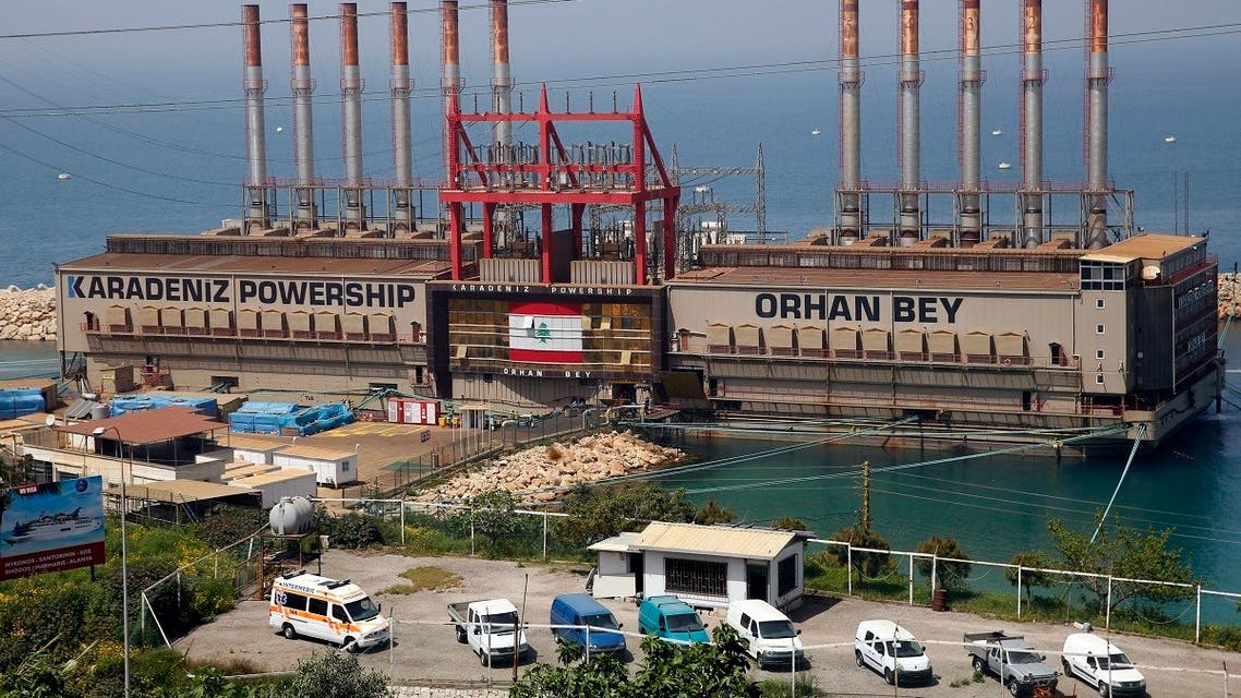 In this April 8, 2019 photo, the Turkish floating power station Karadeniz Powership Orhan Bey operated by Karpowership is docked near the Jiyeh power plant, south of Beirut, Lebanon. (AP Hossein Malla)