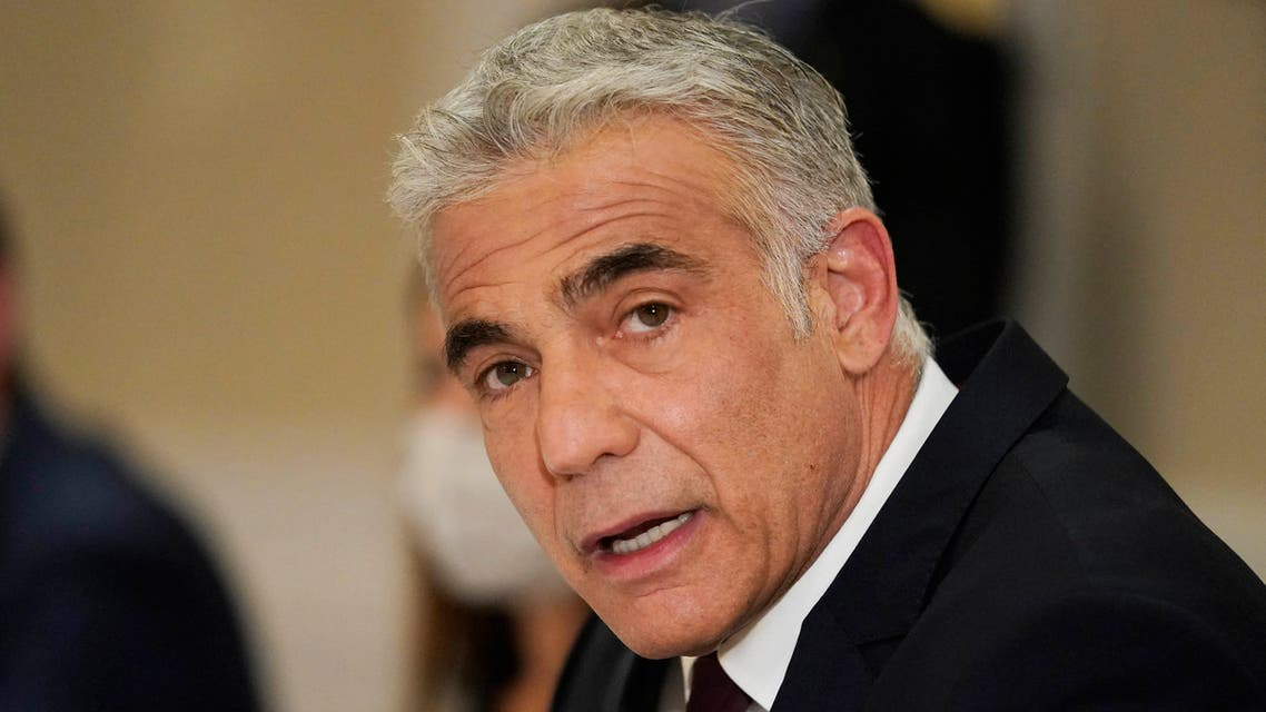 Israeli Foreign Minister Yair Lapid meets with Secretary of State in Rome, on June 27, 2021. (AFP)