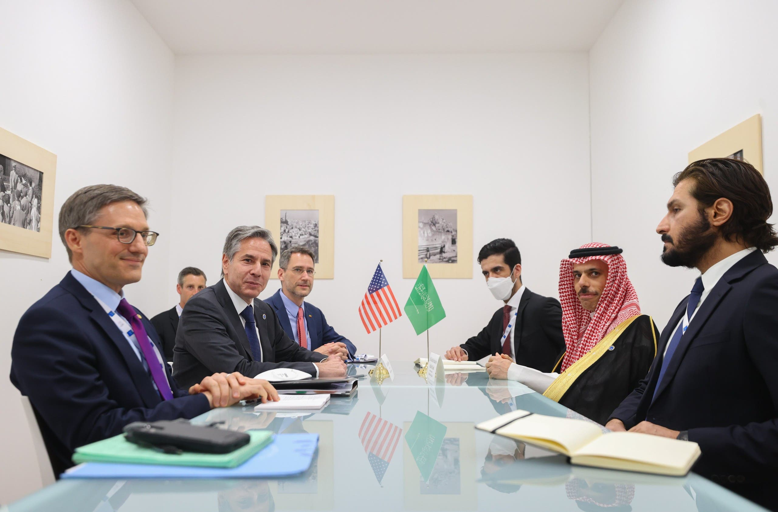 US Secretary of and Saudi Arabia's Foreign Minister Prince Faisal bin Farhan hold a meeting at the G20 gathering in Matera, Italy on June 29, 2021. (Twitter)