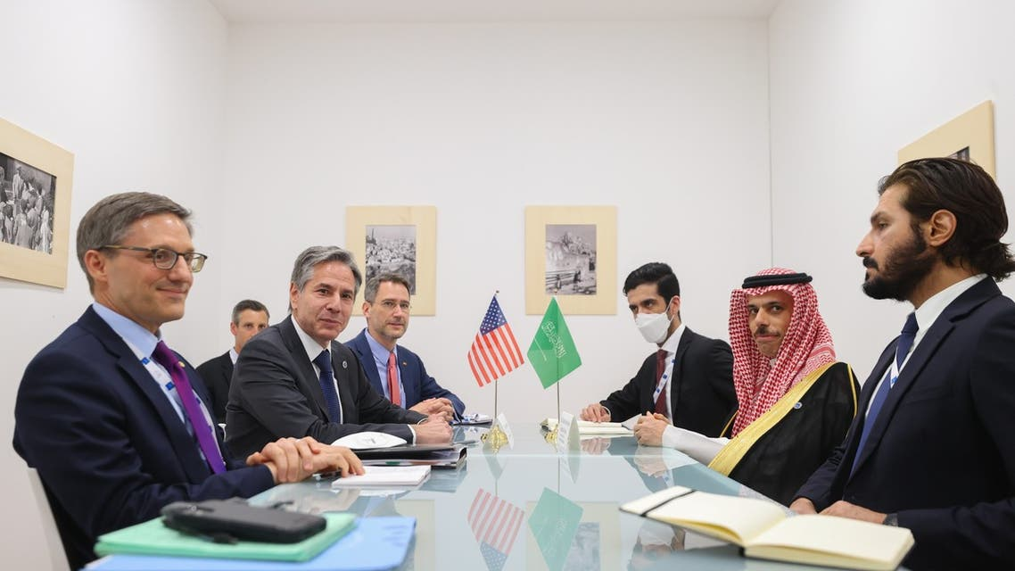 US Secretary of State (center left) and Saudi Arabia's Foreign Minister Prince Faisal bin Farhan Al Saud (center right), hold a meeting at the G20 gathering in Matera, Italy on June 29, 2021. (Twitter)