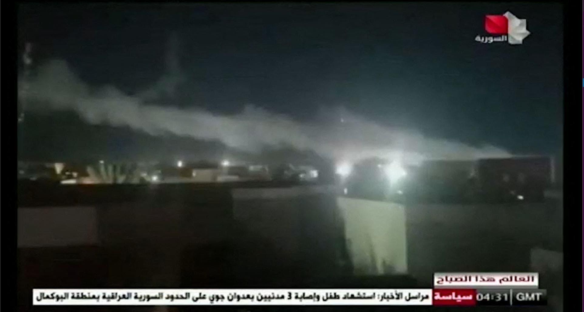صورة نشرها الإعلام السوري للضربات الأميركية على الميليشيات الإيرانية على الحدود العراقية-السورية