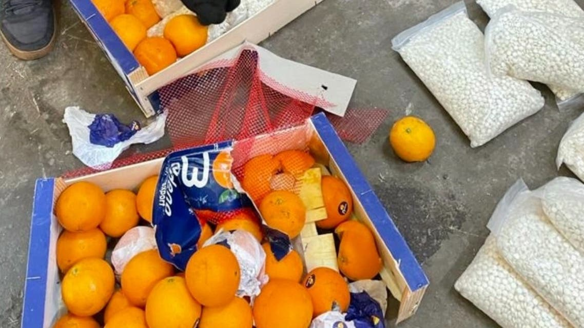 Saudi Arabia foils an attempt to smuggle more than 4.5 million captagon pills hidden in a shipment of oranges. (Twitter)