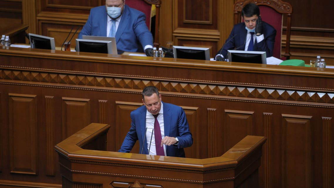 Head of state-run Ukrgasbank Kyrylo Shevchenko delivers a speech during a session of parliament in Kyiv, Ukraine July 16, 2020. Ukraine's parliament approved Shevchenko as the new governor of the Central Bank. (Reuters)