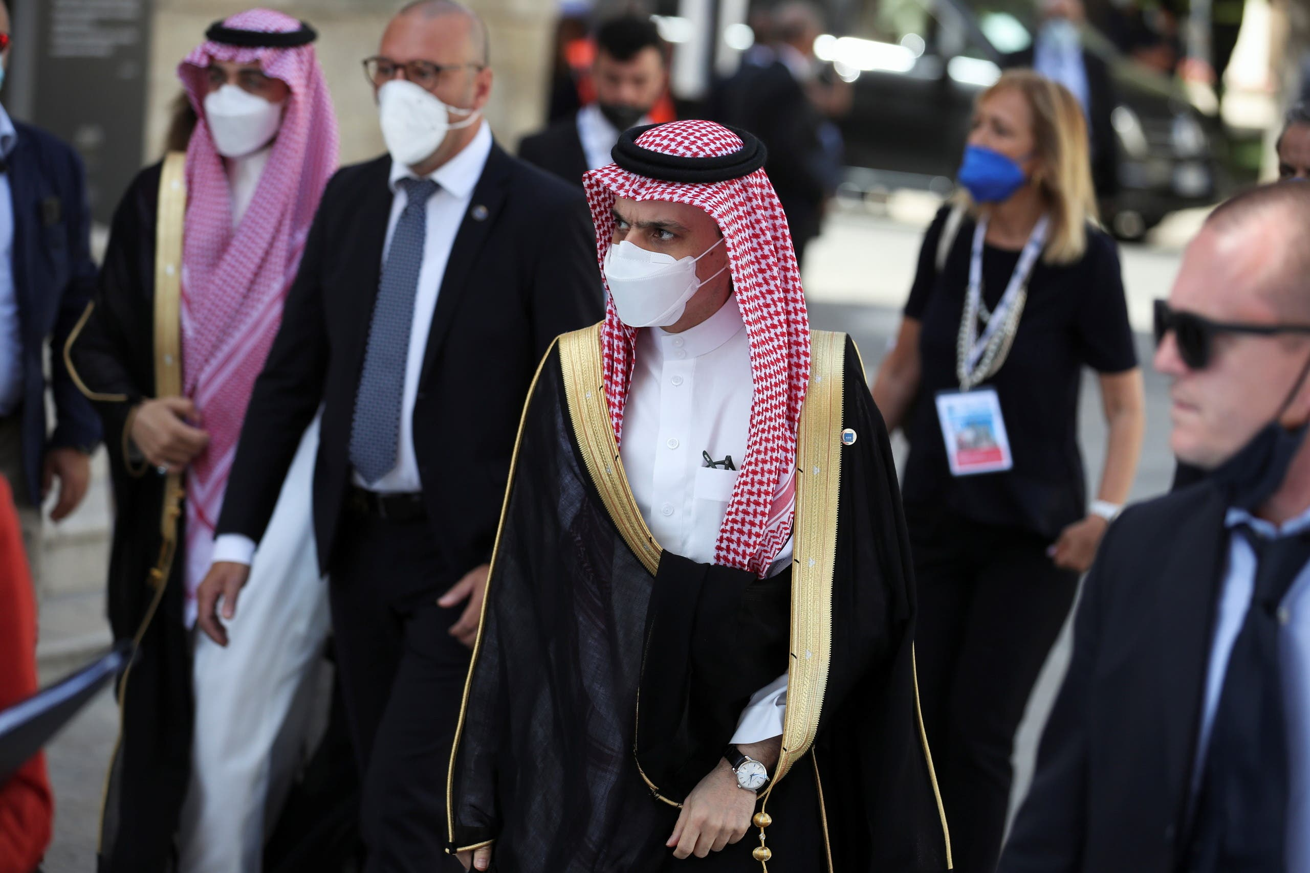 Saudi Arabia's Foreign Minister Faisal bin Farhan Al-Saud arrives to attend the G20 meeting of foreign and development ministers in Matera, Italy, June 29, 2021. (Reuters)