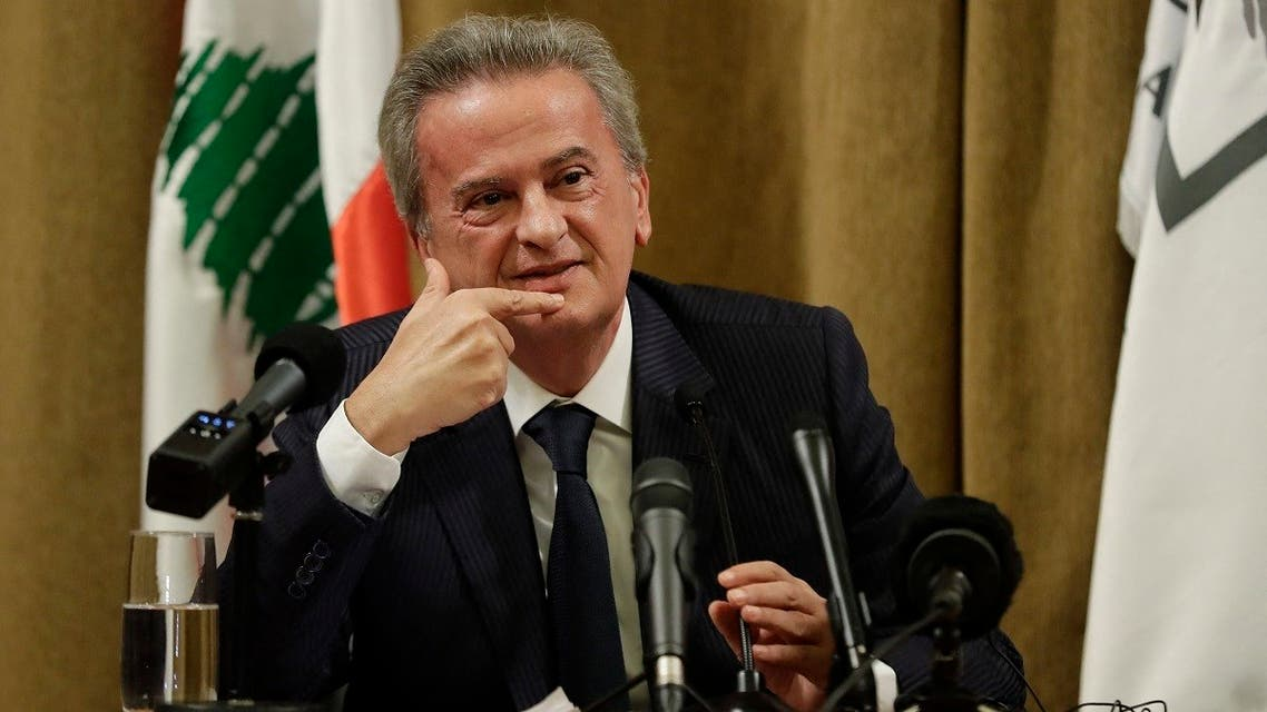 Lebanon's Central Bank Governor Riad Salameh speaks during a press conference at the bank's headquarters in Beirut, Nov. 11, 2019. (AFP)