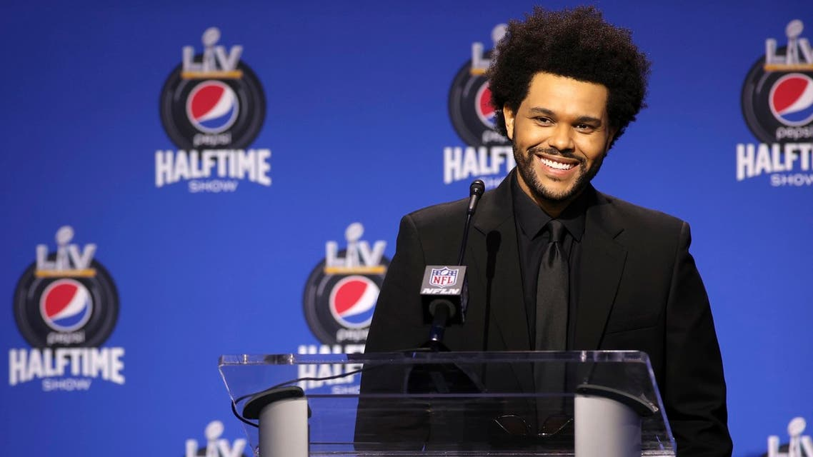 Recording artist The Weeknd speaks at the halftime show press conference ahead of the Super Bowl 55 football game, Thursday, Feb. 4, 2021, in Tampa, Fla. (Reuters)