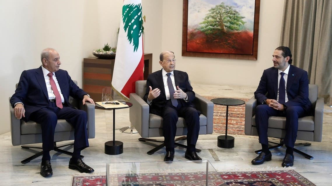 Parliament Speaker Nabih Berri (L) President Michel Aoun (C) and PM-designate Saad Hariri meet at the presidential palace, after Aoun named Hariri to form a new cabinet, on October 22, 2020. (AFP)