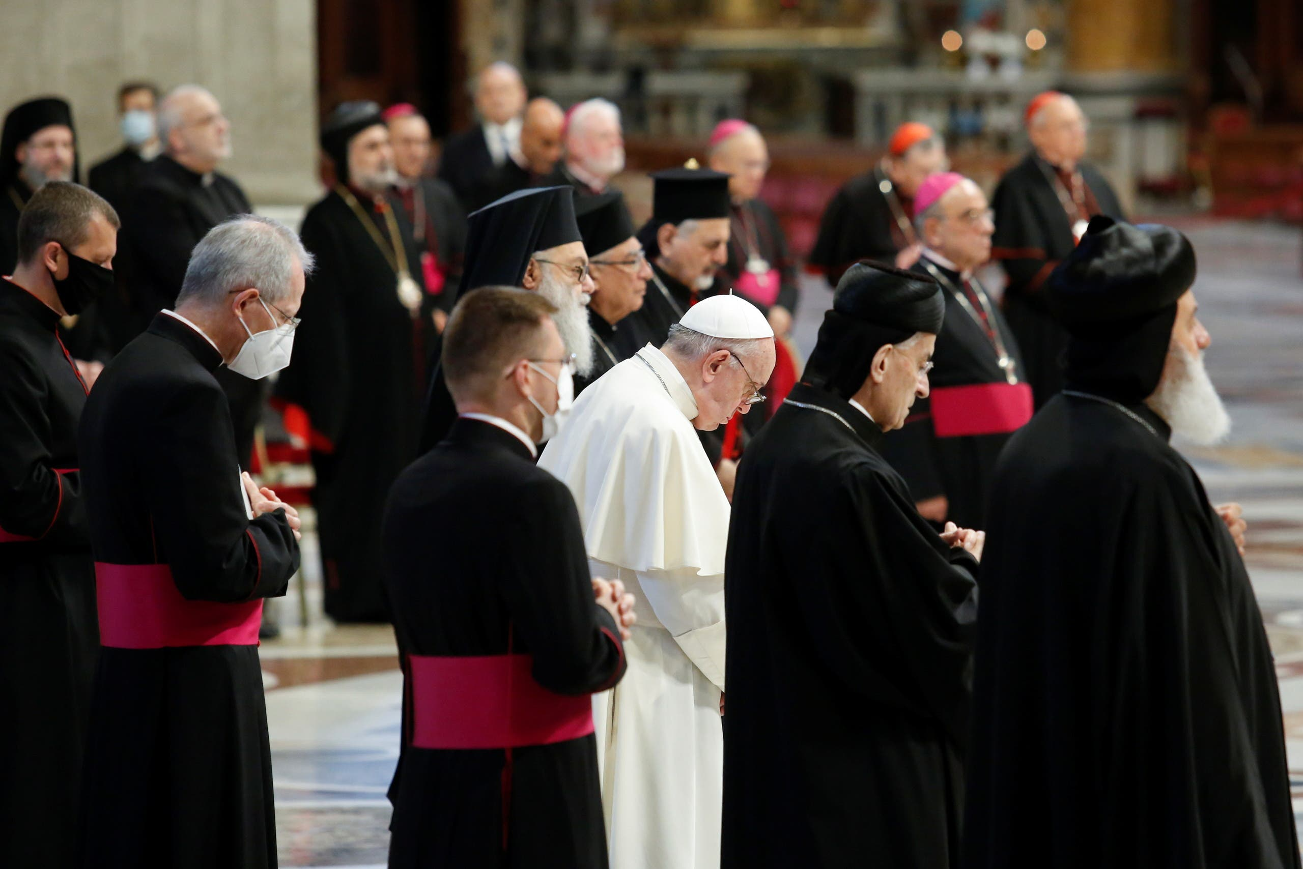Pope Francis meets Lebanon's Christian leaders at the Vatican. (Reuters)