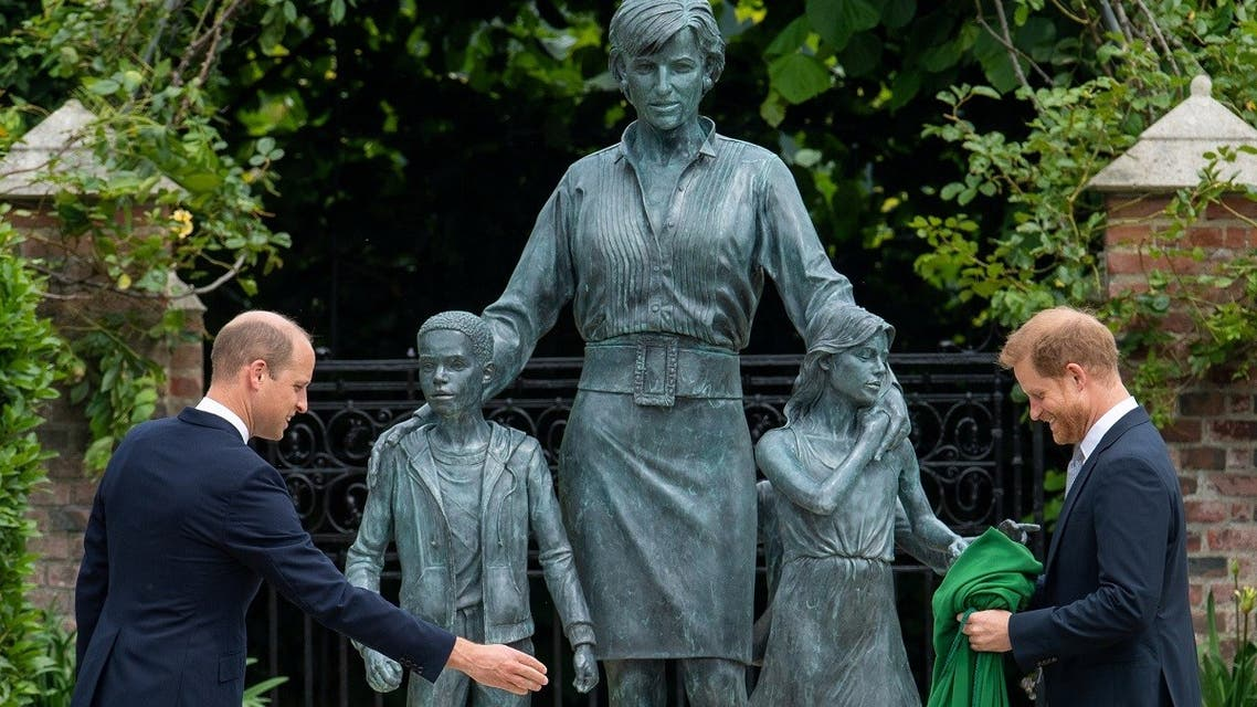 Britain's Prince William, The Duke of Cambridge, and Prince Harry, Duke of Sussex, at the unveiling of a statue they commissioned of their mother Diana, Princess of Wales July 1, 2021. (Reuters)