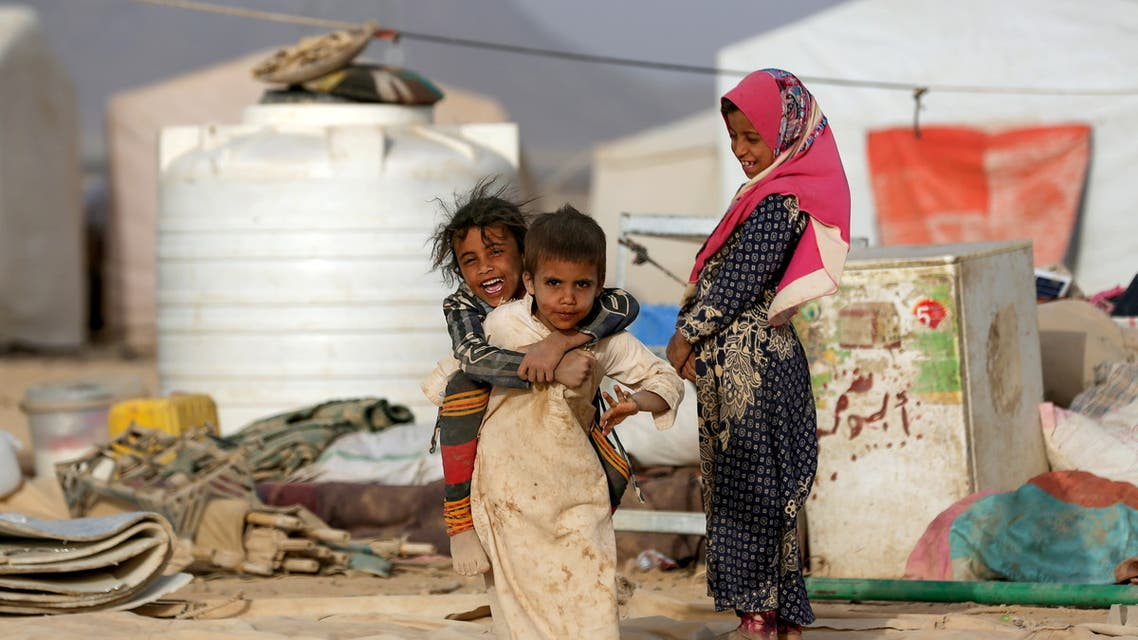 Children play at a camp for internally displaced people (IDPs) in Marib, Yemen April 5, 2021. Picture taken April 5, 2021. (Reuters)