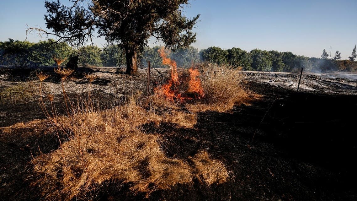 A field on fire is seen after Palestinians in Gaza sent incendiary balloons over the border between Gaza and Israel, Near Nir Am. (File photo: Reuters)