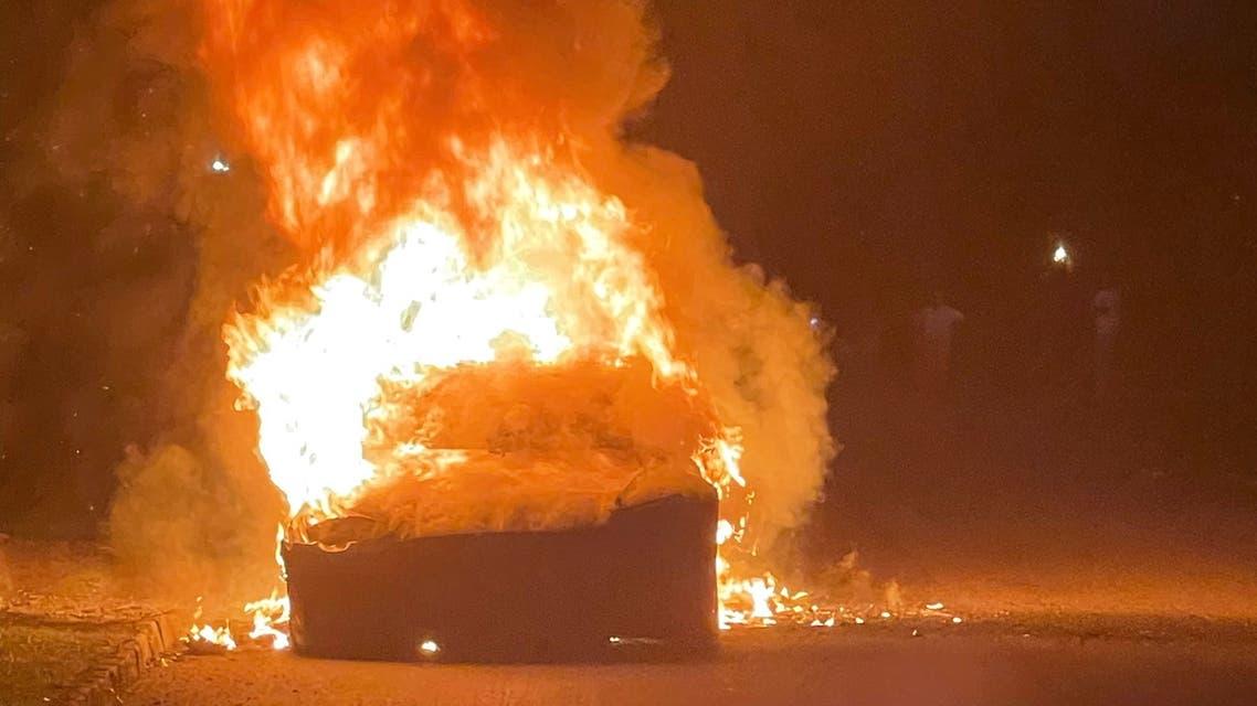 سيارة تسلا S Plaid التي احترقت في ولاية بنسلفانيا (رويترز)