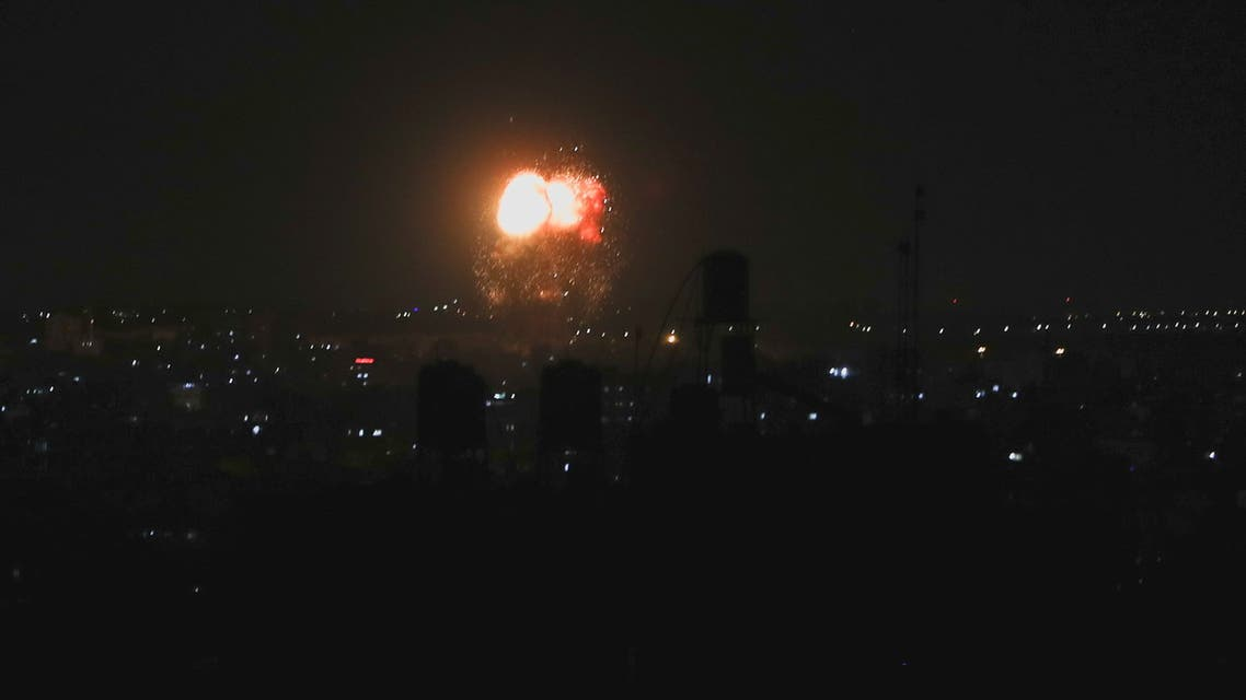 Smoke and flames are seen after an Israeli air strike in the northern Gaza Strip, June 17, 2021. REUTERS/Mohammed Salem
