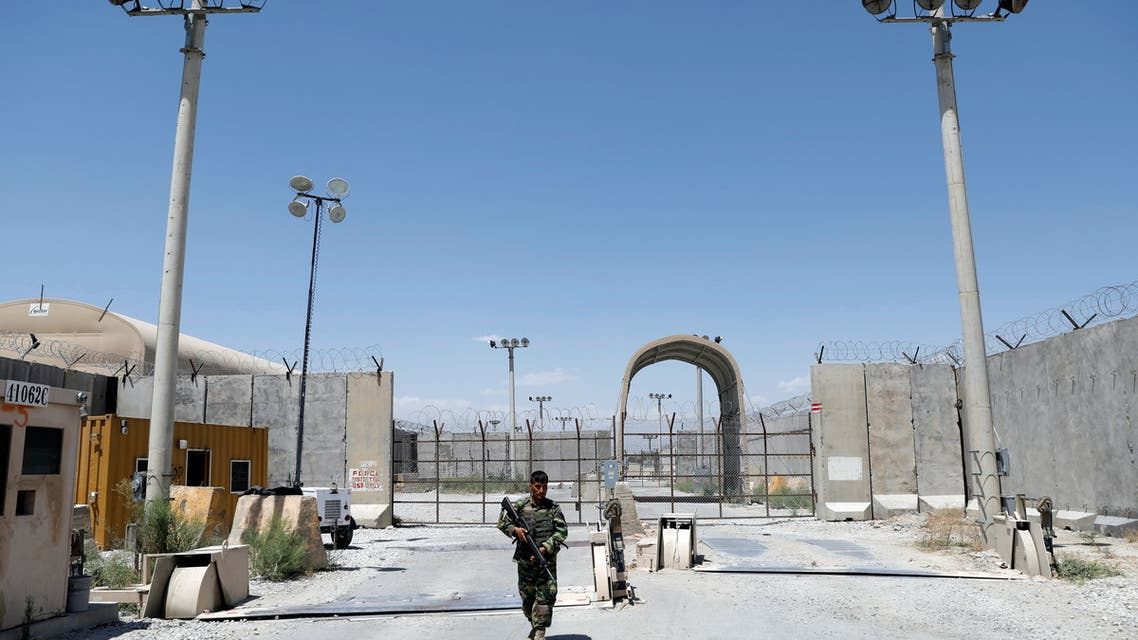 An Afghan National Army soldier stands guard at the gate of Bagram U.S. air base, on the day the last of American troops vacated it, Parwan province, Afghanistan July 2, 2021. (Reuters)