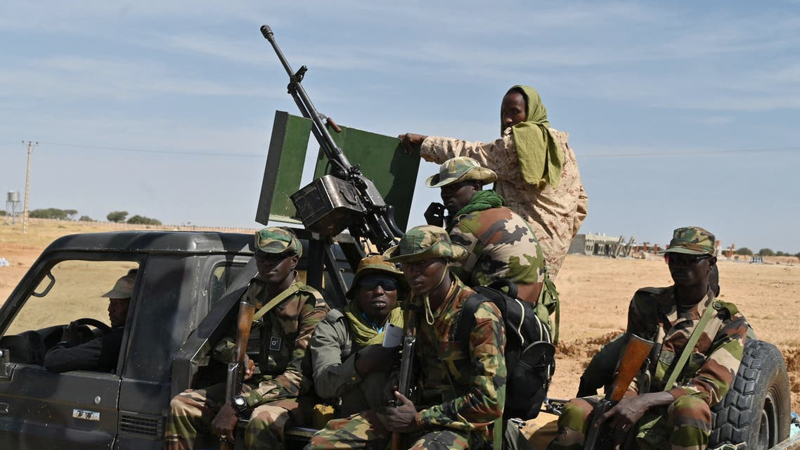 Nigerian soldiers patrol outside the Diffa airport in South-East Niger, near the Nigerian border, on December 23, 2020. (AFP)