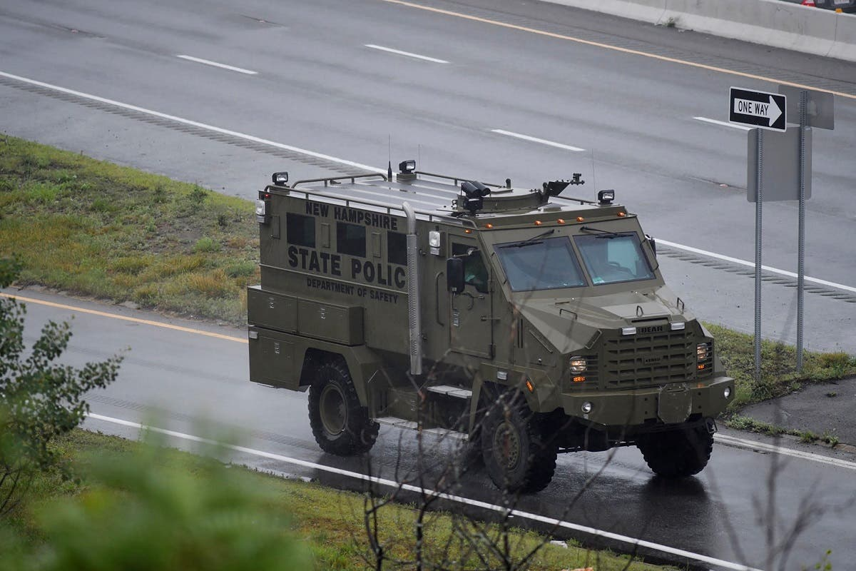 An armored police vehicle leaves the scene after state police announced they were conducting a search for armed persons following a traffic stop in Wakefield, Massachusetts, US July 3, 2021. (Reuters/Faith Ninivaggi)