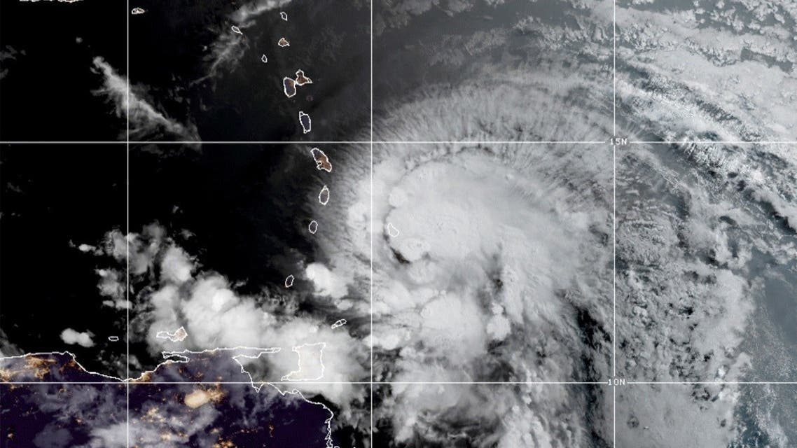 A satellite image shows Hurricane Elsa over the Lesser Antilles and approaching the Caribbean Sea July 2, 2021. (NOAA/Handout via Reuters)