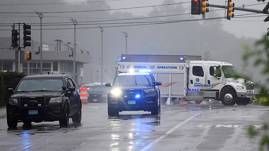 A Massachusetts State Police vehicle blocks the highway after state police announced they were conducting a search for armed persons following a traffic stop in Wakefield, Massachusetts, U.S. July 3, 2021. REUTERS/Faith Ninivaggi