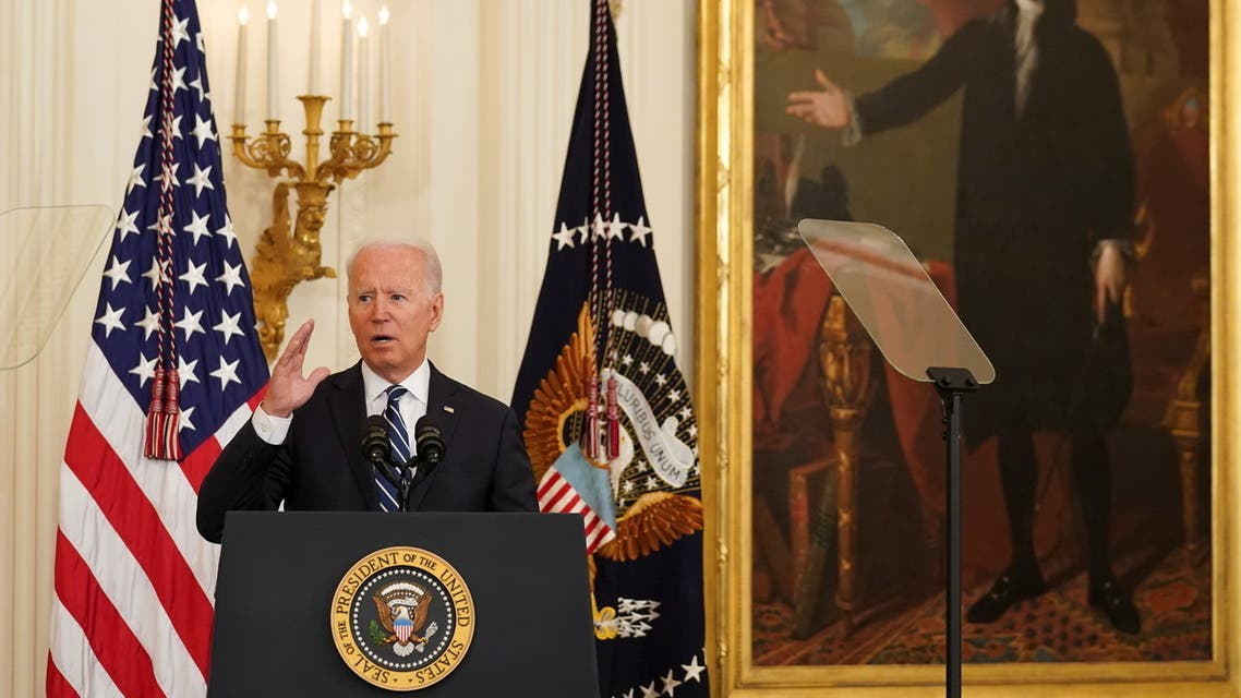 U.S. President Joe Biden speaks while hosting a naturalization ceremony at the White House in Washington, U.S., July 2, 2021. REUTERS/Kevin Lamarque