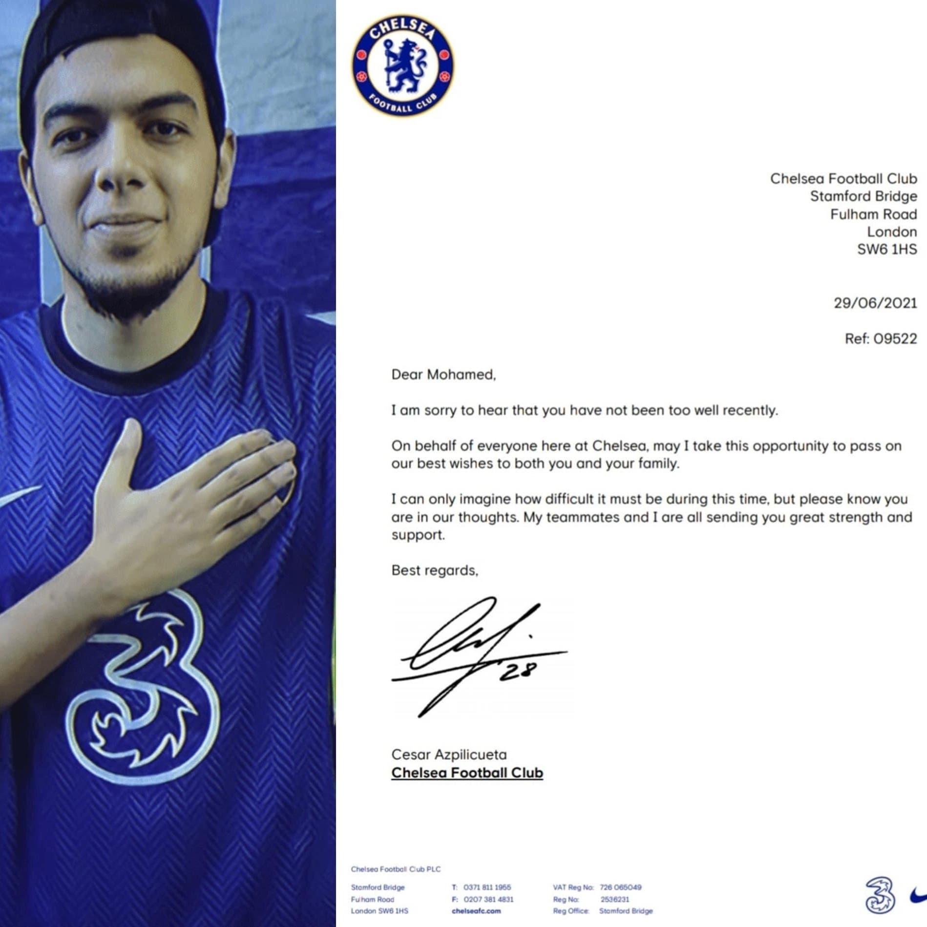نادي تشيلسي يفاجئ مشجعاً مصرياً برسالة دعم لمواجهة مرضه