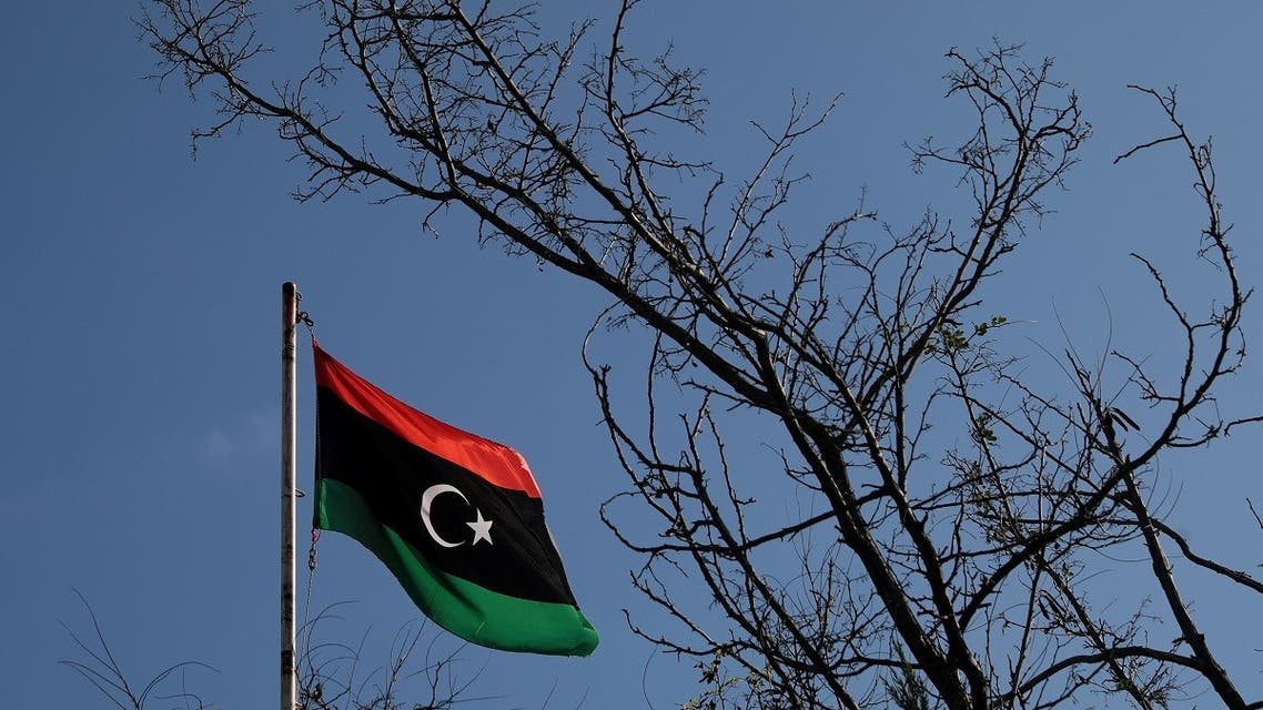 A Libyan flag flutters atop the Libyan Consulate in Athens, Greece, December 6, 2019. (Reuters)