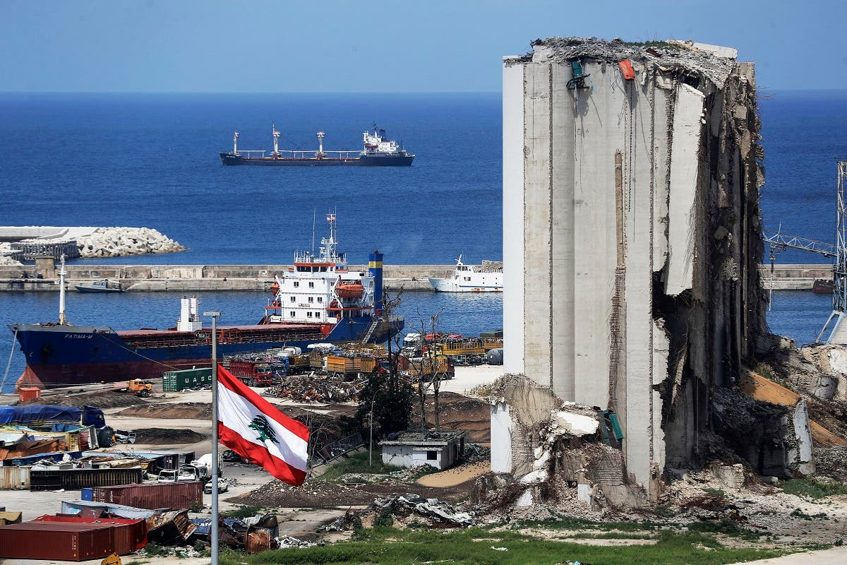 A picture shows a view of the damaged grain silos at the port of the Lebanese capital Beirut, on April 9, 2021. (AFP)
