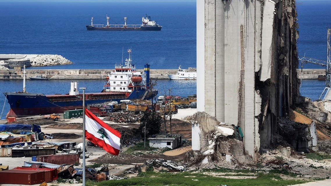 A picture shows a view of the damaged grain silos at the port of the Lebanese capital Beirut, on April 9, 2021. (Joseph Eid/AFP)
